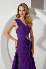 One Shoulder Panel Purple Chiffon With Split Prom Dresses Beautiful