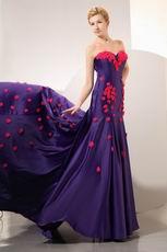 Purple Blue Evening Dresss With Red Handmade Flowers