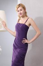 Spaghetti Straps Cross Back Sheath Layers Eggplant Prom Dress