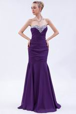 Affordable Sweetheart Crystals Mermaid Purple Chiffon Prom Dress