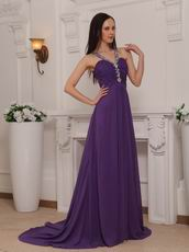 Purple Cross Back V-neck 2014 Top Designer Prom Dress Online