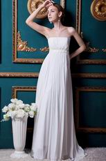 Romantic Strapless Chiffon Beach Wedding Party Bridal Dress