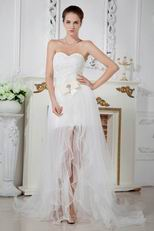 Unique Corset High Low Detachable Skirt Beach Bridal Gowns
