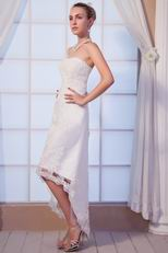 Appliques High Low Ankle Length Beach Wedding Dress