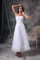 Strapless Tea-length Romantic Beach Wedding Dress Cheap Romantic