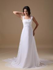 Straps Square White Chiffon Lace Wedding Dress For Beach