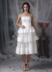 A-line Layers Hand Made Flower Beach Short Wedding Dress Romantic