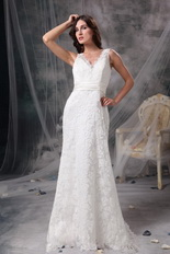 Column V-neck Floor Length Beach Wedding Dress White Lace Romantic