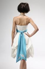 Cute Short Summer Wedding Dress With Teal Sash For Beach