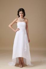 Romantic Strapless High-low Beach Wedding Dress Cheap