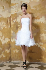 Strapless Mini-length Ruffles Skirt Short Wedding Dress Miami Romantic