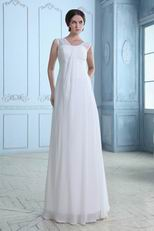 V-Neck Long Chiffon Wedding Dress For Beach Wedding Party
