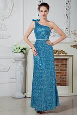 Blinking One Shoulder Bowknot Sequin Blue Cocktail Dress