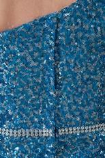 Blinking One Shoulder Bowknot Sequin Blue Cocktail Dress