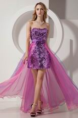 Ablaze Hi-Lo Purple Sequin Pink Organza Cocktail Dress