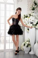 Black Short Organza Beaded Cocktail Dress For Girl