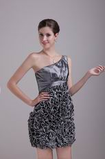 Silver Grey Mini One Shoulder Cocktail Dress By Designer