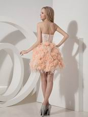 Cute Style Orange Lace Cocktail Dress With Feather Decorate