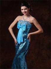 Mermaid Bowknot Decorate Prom Gowns Cover With Blue Paillette Sexy Lady Wear