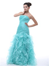 Light Blue Close-Fitting Ruffles Mermaid Evening Party Dress