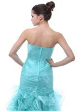 Light Blue Close-Fitting Ruffles Mermaid Evening Party Dress