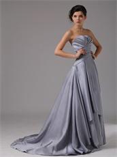 Strapless Silver Satin A-Line Cascade Prom Dresses Corset Back