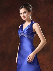 Dark Royal Blue Empire Waist Slim Evening Dress Backless
