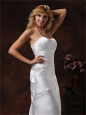 Halter Ivory Satin Brush Train Evening Dress Ruching Details