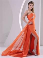 Orange One Shoulder Side High Slit Court Train Prom Pageant Dress DHL