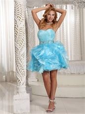 Crystals Belt Light Blue and Aqua Mixed Ruffles Cocktail Party Dress