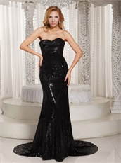 Blazed the Whole Party Sheath Black Sequin VIP Evening Dress Yacht