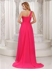 Hot Pink Chiffon Watteau Train Dress to Join Company Annual Meeting