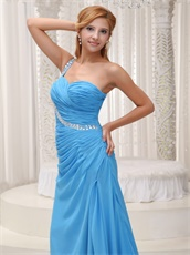 Super Sell Sky Blue One Shoulder Practical Formal Evening Dress Side Slit