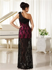 Left Single Strap Feather Decorate Black Lace Evening Gowns With Half Lining