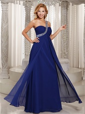 Silver Beaded Single Strap Empire Floor Length Prom Gowns With Flutters