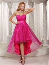 Fuchsia Shiny Sequin Lace High-low Skirt For Stage Effect Cocktail Dress
