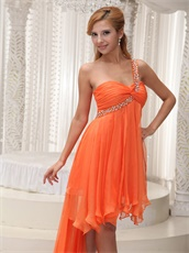 New Brand Orange Irregular Hemline Prom Dress For Dancing Party One Shoulder