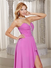 Lilac Rose Pink Chiffon Sweetheart High-low Event Celebrity Dress Brisk