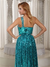 Sparkling Teal Sequin Single Strap Floor Length Graduation Dress