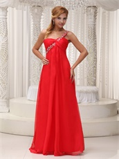 One Shoulder Red Chiffon Floor-length Evening Dress Wear For Concert