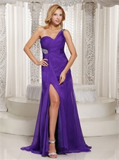 Bright Blue Violet Show Leg Slit Sexy Celebrity Dress Lady