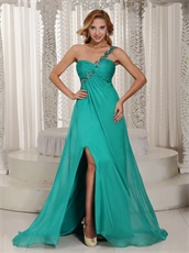 Single Left Strap Turquoise Slit Prom Graduation Dress In New York