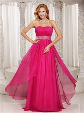 Column Strapless Fuchsia Chiffon Beading Long Prom Dress Lightsome