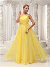 Single Strap Ruched Bodice Yellow A-line Evening Dress Supplier Cheap