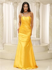 Sunset Yellow Sheath Floor Length One Shoulder Evening Dress Brightly
