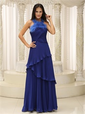 Feather Decorate Halter Top Royal Blue Wrinkled Layers Prom Dresses