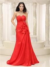 Sweetheart Red Taffeta Arena Compere Evening Dress Brush Train