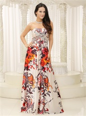 Printed Pattern Strapless Unique Prom Cocktail Dress Colorful