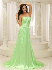 Top Brand Fresh Mint One Strap Empire Evening Dress Gowns For Party