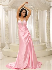 Halter Top Baby Pink Sheen Evening Gowns Company Annual Meeting